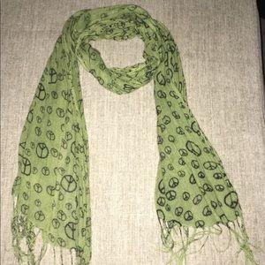 Green peace tassel scarf